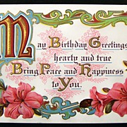 Early 1900s Gilded Embossed Motto Postcard, Pink Lilies, Ornate Scrolling
