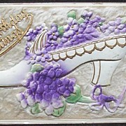 Early 1900s Deeply Embossed Gilded, Felt & Fur Postcard, Victorian Shoe Overflowing with Viole