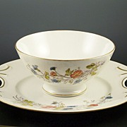 """Lovely Limoges 10 1/4"""" Platter and 6"""" Waste Bowl Set, Coral Poppies & Blue Wildflowe"""