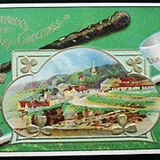 1911 Embossed Gilded Postcard, Erin Go Bragh! Dunmore, County Waterford, Irish Village, Pipe,
