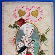 Early 1900s Embossed Gilded Postcard, Girl in Bonnet, Red Glitter Roses, Gilded Hearts
