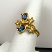 """Dazzling Facets"" Faux Sapphire Ring with Deep Blue Stones & Clear Rhinestone Accent"