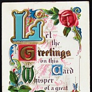 1911 Gilded Embossed Motto Postcard, Illuminated Script, Fancy Scrollwork, Pink Roses