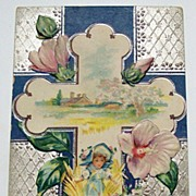 1912 Embossed Silver-tone Postcard, Home in Meadow, Hibiscus Flowers, Easter Cross, Little Gir