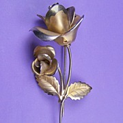 Classic Gold-Tone Two-Roses-on-Branch Pin/Brooch, Frosted Petals, 1960s-1970s