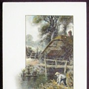 1913 Winsch Postcard, Nostalgic Summer Scene of Old Millhouse, Boy Explores the Riverbank
