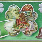 1910 Embossed Silvered Postcard, Erin My Country, Mother and Child at Waterwheel, Shamrocks, P