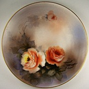 "Hand Painted Noritake 7 5/8"" Plate, Pair of Luminous Roses with Smoky Leaves, 1918-1940s"