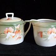 R.S. Tillowitz (Silesia) Creamer and Sugar Set, White & Coral Fuchsias, 1920s-1940s