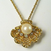 Ocean's Dream Necklace with Seashell Pendant, Faux Pearl & Rhinestones, 1995