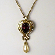 Renaissance Beauty Necklace, Amethyst Glass Teardrop within Gold-tone Heart Setting, Faux Pear