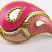 Kaleidoscope Teardrop Earrings - Pink, Rose and Fuchsia Enamel, (1992)
