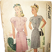 Vintage 1946 McCall Day Dresses Printed Sewing Pattern-UNCUT