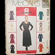 "Vintage Sewing Pattern ""8-Looks"" Ladies Dresses UNCUT Size 14"