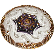 Vintage Glass Button, Reverse Painted Textured White and Burgundy