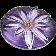 Vintage Glass Button, Reverse Painted Purple Windflower