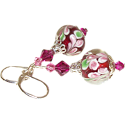 SOLD Artisan Fuchsia-Rose Lampwork & Swarovski Crystals Earrings