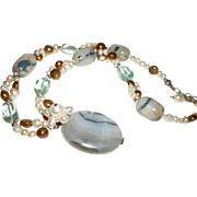 SALE Artisan Botswana Agate and Freshwater Pearls Pendant Necklace-MAKE OFFER