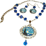 Artisan Starry, Starry Night Wearable Art Pendant Necklace and Earrings Set