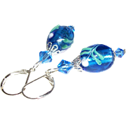 Artisan Silver-Core Sapphire Blue Lampwork and Swarovski Crystals Earrings