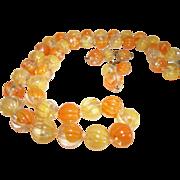 Vintage Orange-Yellow Lucite Necklace & Earrings Set