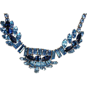 SOLD Vintage SHERMAN Classic Blue Sparkle Necklace