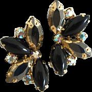 Vintage Fan-shaped Two-Tone Glamour Crystal Earrings