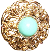 Vintage Filigree and Glass Pin and Scarf Clip