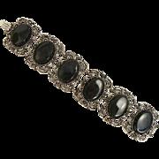 SALE Vintage Emmons Faceted Cabochons Articulating Links Bracelet