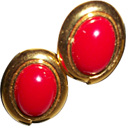 Vintage Red Cabochon Post Earrings-FREE US Shipping!