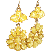 SOLD Vintage 1980's Faceted Yellow Chandelier Dangle Earrings