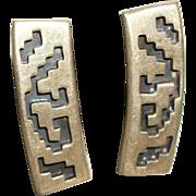 SALE Vintage 1960's Sterling Silver Aztec Design Column Earrings