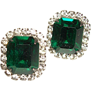SALE Vintage Emerald-Green Faceted Crystal Post Earrings