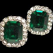 Vintage Emerald-Green Faceted Crystal Post Earrings