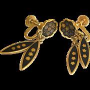 Vintage Spanish Tourista Damascene Earrings