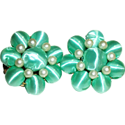 SALE Vintage Green Satin Clip Earrings