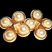 Vintage Bezel-Set Faux Pearls Clip Earrings