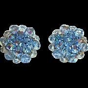 Vintage Blue Crystal Clusters Clip Earrings