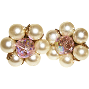 Vintage Faux Pearls & Pink Crystals Clip Earrings