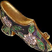 Vintage 1950s Twisted Wire Enamel Cloisonne Shoe Pin/Brooch