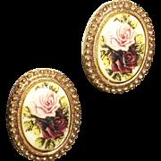 Vintage Painted Roses Oval Post Earrings