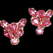 Vintage Bright Pink Crystals Earrings