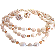 Vintage 3-Strand Peachy-Keen Lucite & Glass Necklace Set