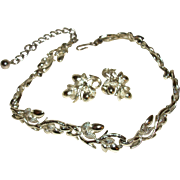 Vintage Coro Silver-plate Flora Necklace and Earrings