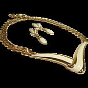 SALE Vintage Monet Enamel Focal Statement Necklace and Earrings Set