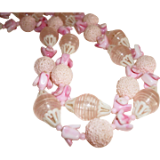 Vintage Vendome Pink Lucite and Glass Baubles Necklace