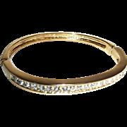 SALE Vintage Rhinestones Hinged Thin Line 1980s Bangle Bracelet