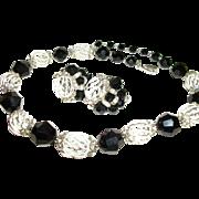 Vintage Vendome Rhinestones Black Crystals and Cage Beads Necklace Set