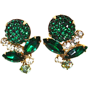 Vintage 1980s Emerald Green Faceted Crystal Flower-Shaped Earrings
