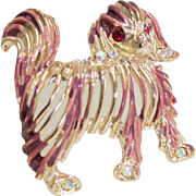 Vintage Figural Dog Pin/Brooch with Enamel and Rhinestones